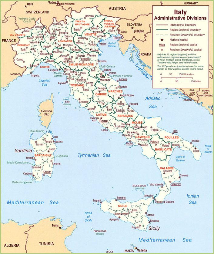 Un voyage en italie - Régions d'Italie