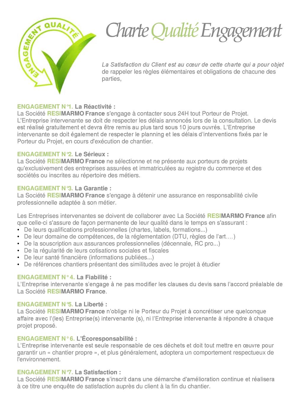 Le projet - Charte qualité - Engagement RESIMARMO