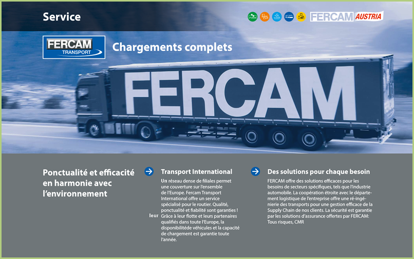 FERCAM Transport international - un service de qualité
