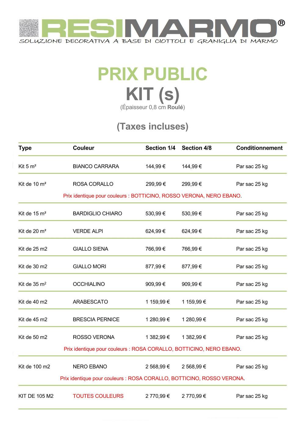 Les Kits RESIMARMO - Prix public des kits RESIMARMO