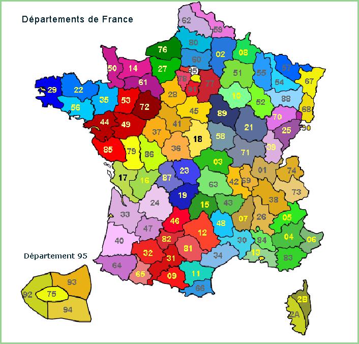 Chaque département français représente une zone de transport (A, B, C, etc…)